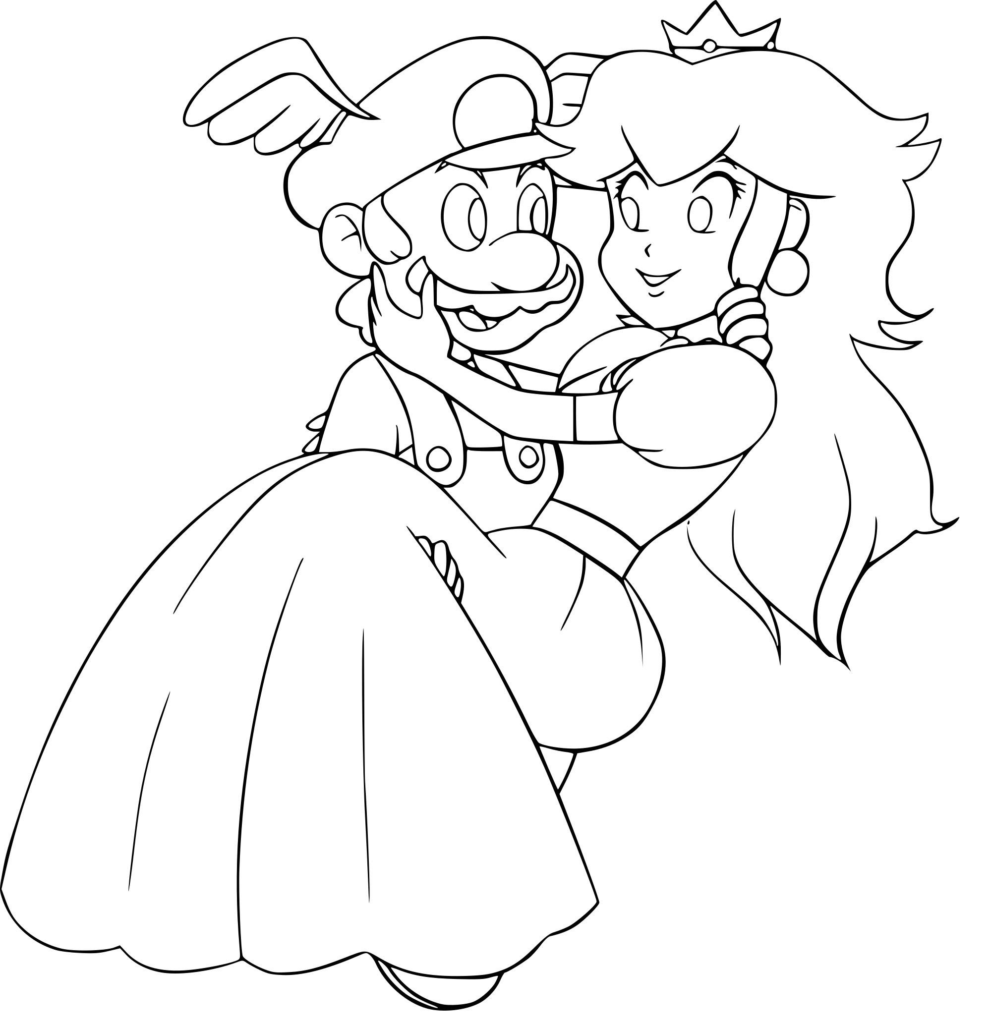 Coloriage Mario Et Peach à Imprimer