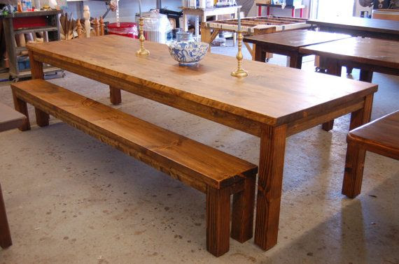 Farm Table: Parsons style old board table and bench