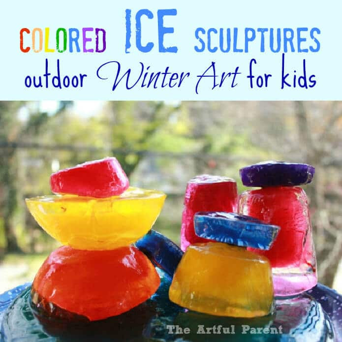 http://artfulparent.com/2012/11/colored-ice-scultpures-outdoor-winter-art-for-kids.html