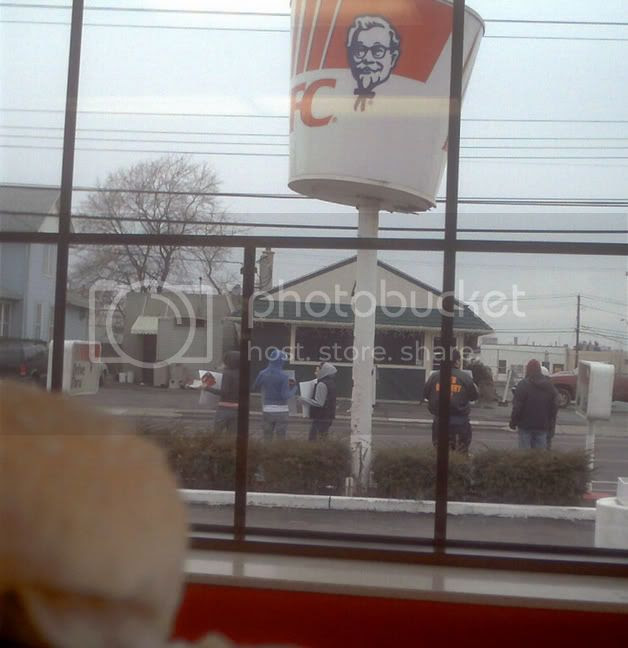 What the protest looked like as I ate my chicken sandwich