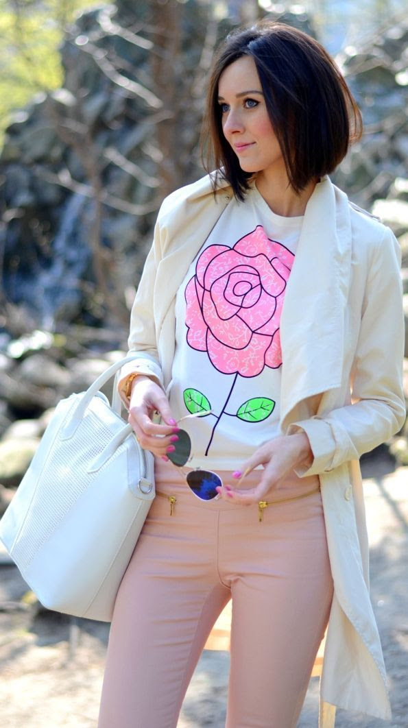 Romwe Big Rose Print Sweatshirt by Daisyline