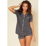 Cosabella Bella Short Sleeve Top & Boxer Pajama Set - Womens - Gray - 3x