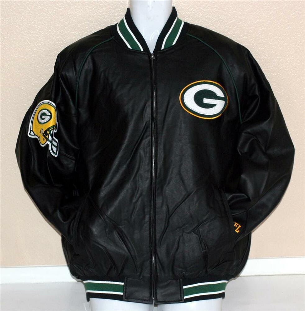 GREENBAY PACKERS NFL Superbowl Champ Synthetic Leather JACKET L New  eBay