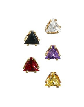 Image 1 of ASOS Multipack Triangle Stud Earrings