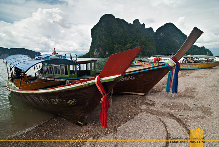 Traditional Long Tail Boats at Thailand's Phang Nga Bay