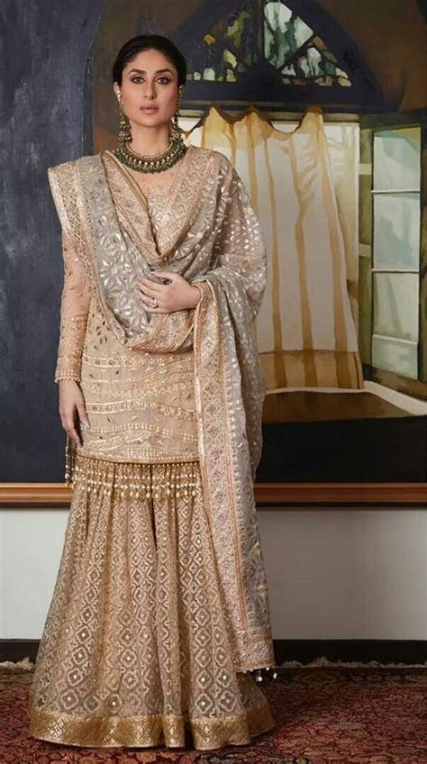 Stunning Kareena Kapoor Khan in nude kurta sharara set