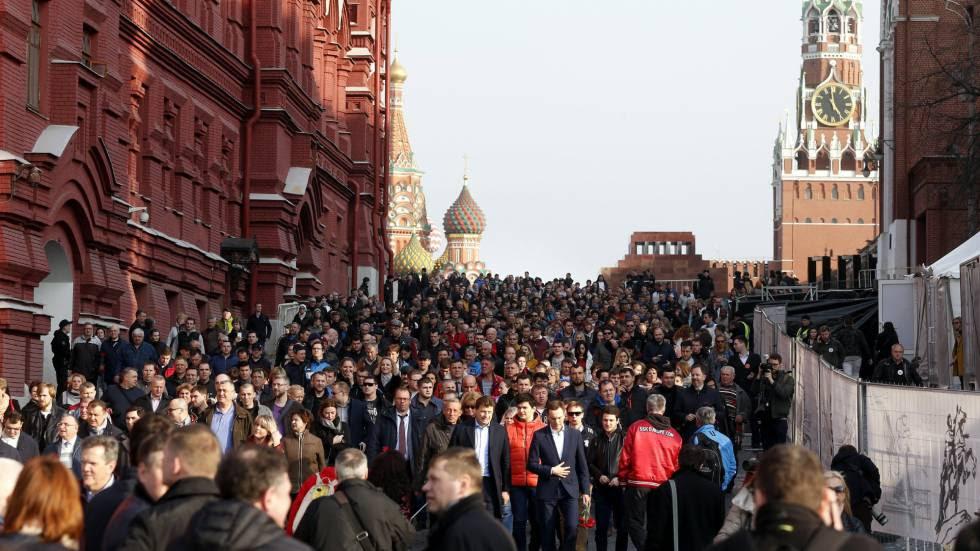 """Marcha """"San Petersburgo estamos contigo"""" el 6 de abril en las calles de Moscú."""