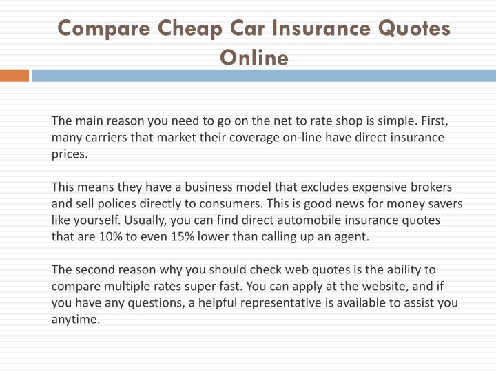 PPT  Compare Cheap Car Insurance Quotes Online PowerPoint