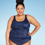 Women's Plus Size Scoop Neck Tankini Top - All in Motion Navy Camo 20W, Green/Blue