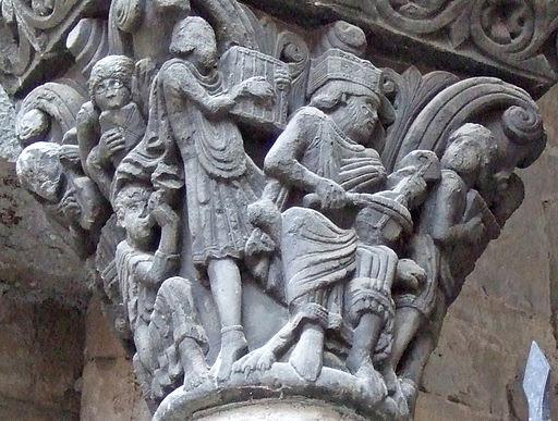 Detalle del Capitel del rey David con músicos
