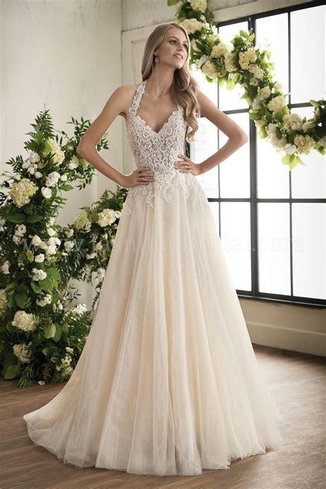 T202008 Illusion Bodice , V neck Lace Bridal Gown Wedding
