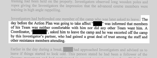 excerpt from undercover investigation report