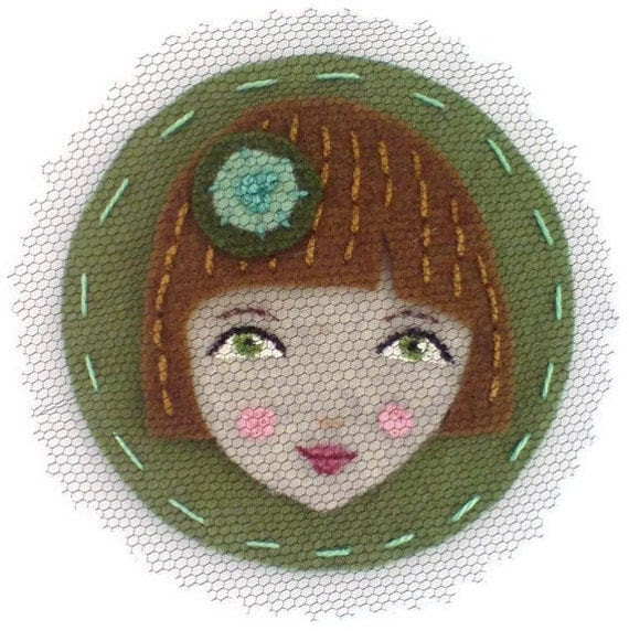 Cute Face Felt magnet, olive, brown