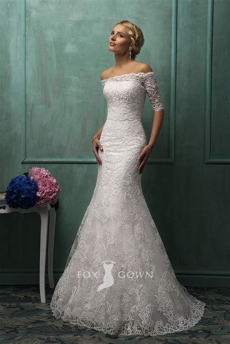 white lace trumpet strapless wedding dress with off the