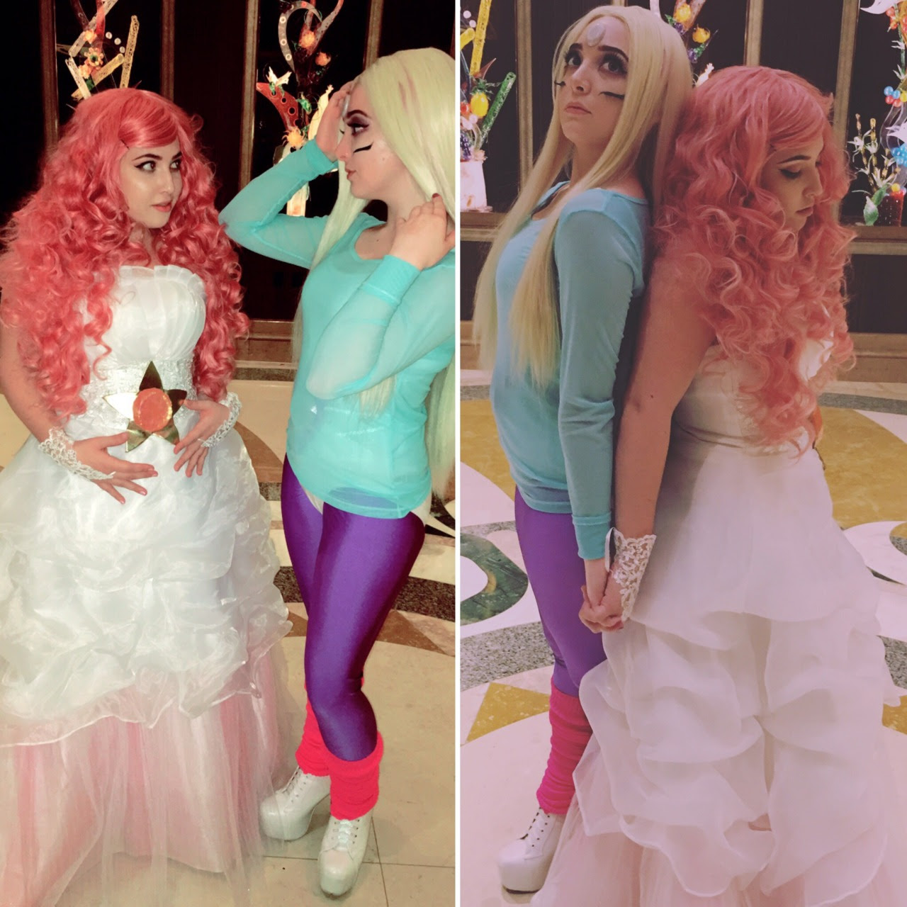 A little belated but here's a photo set of me as rose quartz and my lovely friend as Rainbow Quartz! Makeup credits go to myself, wig credits go to my friend Jayson (who is also my Steven in these...