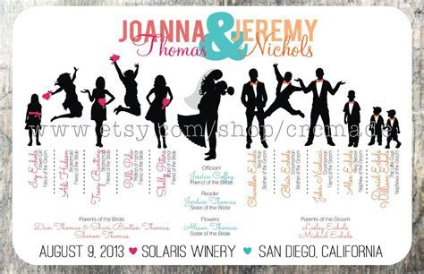 Silhouette Wedding Program Digital/Printable by CRCmade on