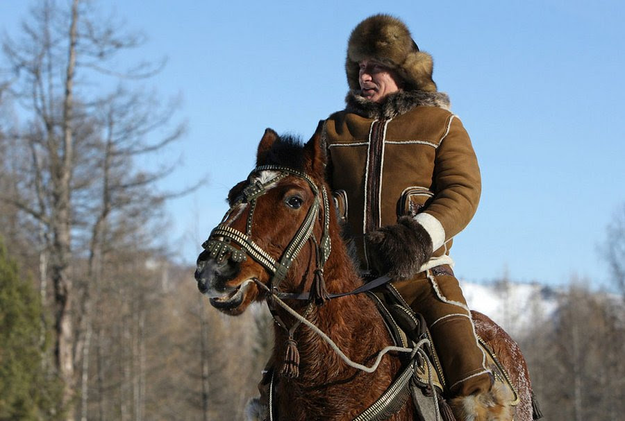 Vladimir Putin for a ride in the area of Karatas, near the town of Abakan, during his visit to the Republic of Khakassia, February 25, 2010.