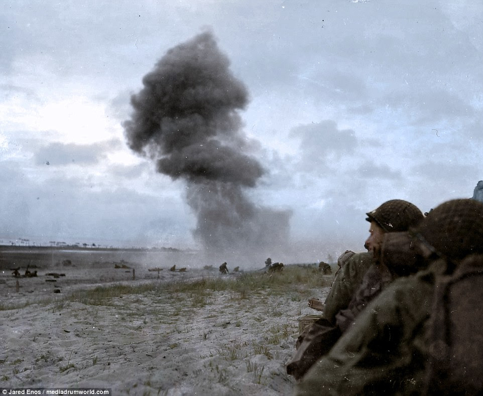 A shell fired by a 88 mm gun explodes on Utah Beach during the landing on June 6, 1944. The target 50-mile stretch of the Normandy coast was divided into five sectors: Utah, Omaha, Gold, Juno, and Sword Beach. Up to 9,000 Germans and some 6,000 Allied forces died during the fighting