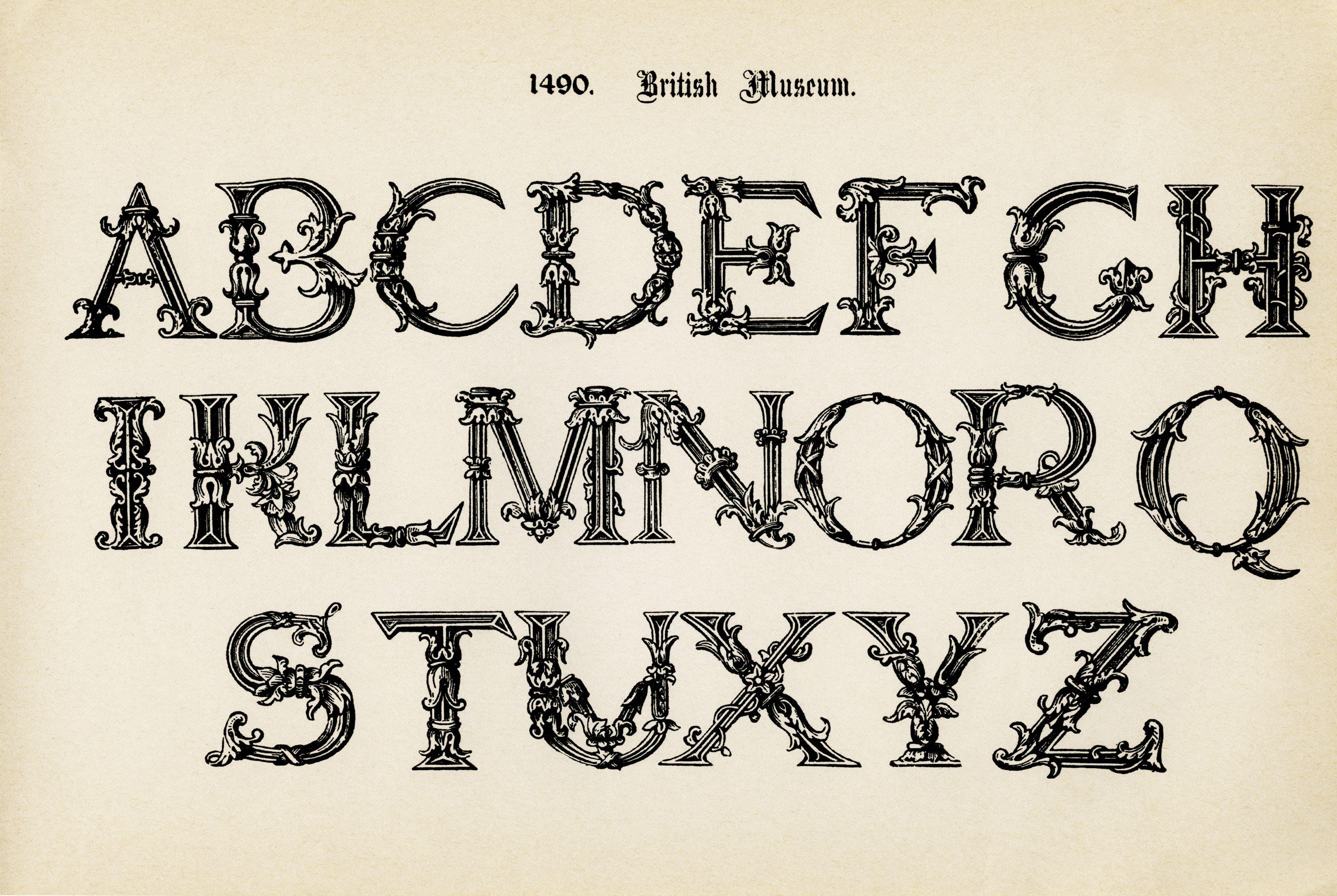 Alphabet Free Printable Alpha Fancy Letters Vintage Clipart ...