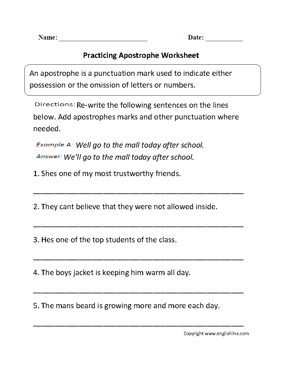 Punctuation Worksheets Apostrophe Worksheets