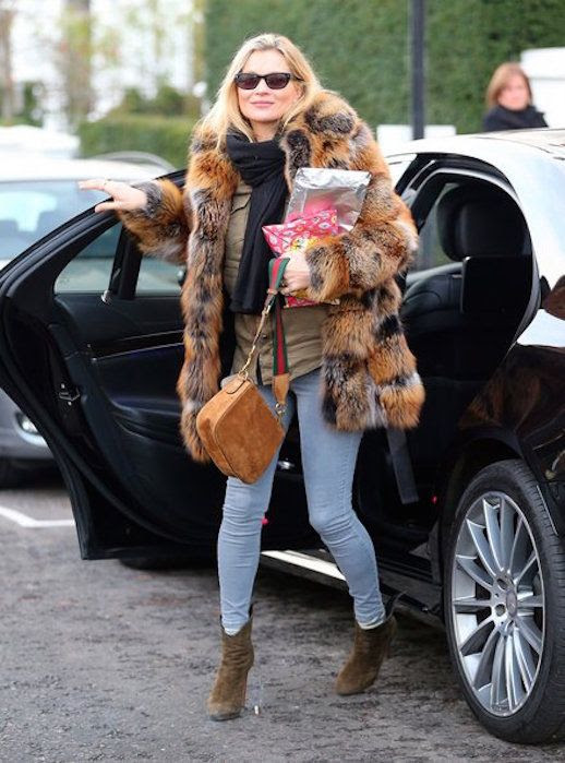 Le Fashion Blog Kate Moss In London Wearing Fur Coat Skinny Jeans Khaki Boots Via Vogue