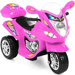 Best Choice Products 6V Kids Battery Powered 3-Wheel Motorcycle Ride on Toy w/ LED Lights, Music, Horn, Storage - Pink