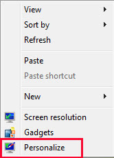 Click Right Baton in Mouse for Open Personalize