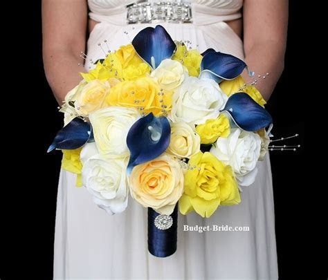 Marine Navy Blue with Bright yellow roses, white roses and