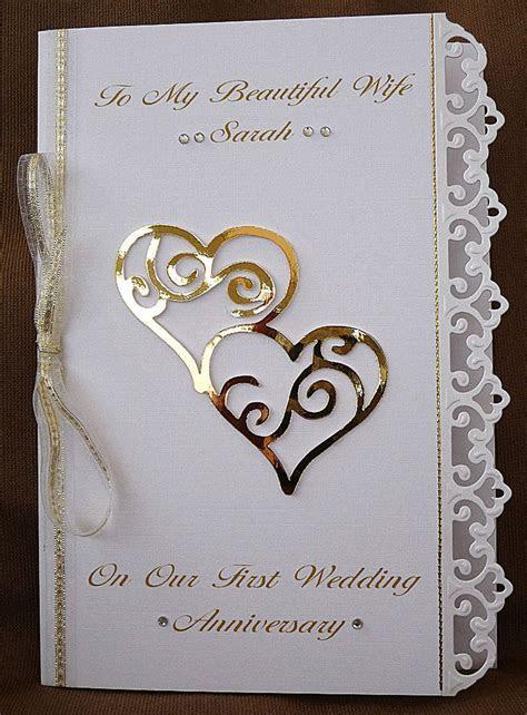 Personalised Handmade A5 Card Wife Wedding Anniversary