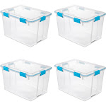 Sterilite 80 Quart Plastic Home Storage Gasket Box Container, Clear (4 Pack) by VM Express