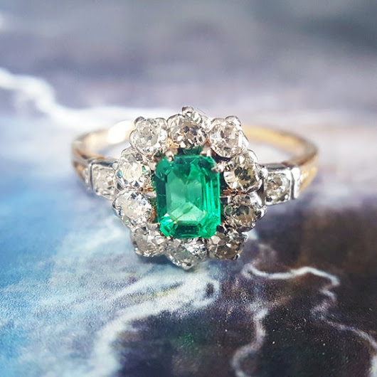 Emerald Engagement Ring  Antique Emerald Ring  by TheIdolsEye