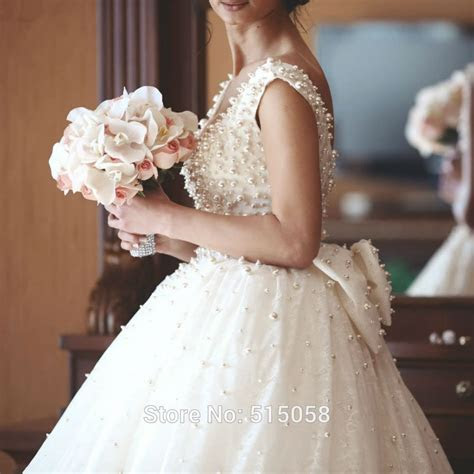 Ivory Lace Bow Back Royal Style Pearl Wedding Dresses Ball
