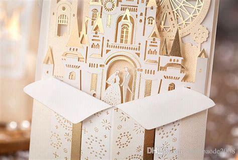 Unique 3D Laser Castle Wedding Invitations Cards Laser Cut