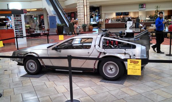 The DeLorean from BACK TO THE FUTURE is on display at Puente Hills Mall in the City of Industry...on September 30, 2015.