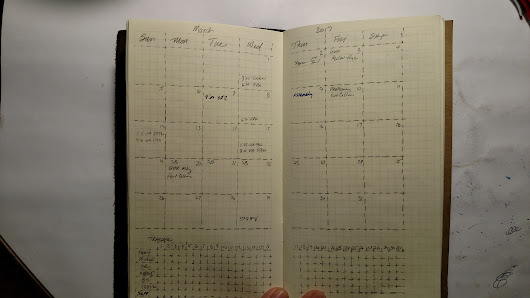 Monthly layout with a habit tracker