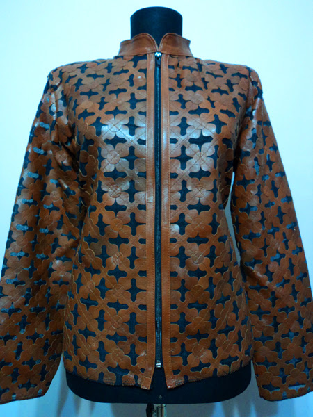 Plus Size Brown Leather Leaf Jacket for Women [ Design 06 ] Genuine Short Zip Up Light Lightweight