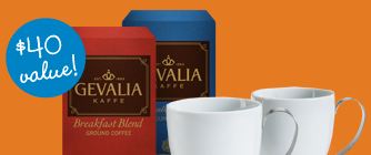 2 FREE Mugs + FREE Shipping When You Buy 2 Boxes of Coffee at Gevalia.com