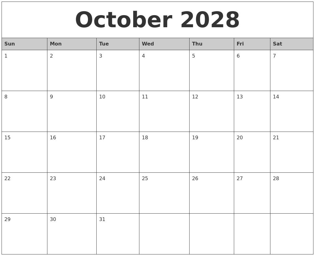 october 2028 monthly calendar printable