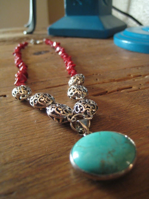 Coral and silver necklace with turquoise pendant