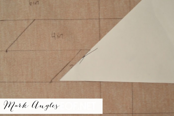 use folded piece of paper for easy 45 dgree angle stencil