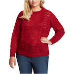 JESSICA SIMPSON Womens Red Patterned Long Sleeve Crew Neck Blouse Sweater