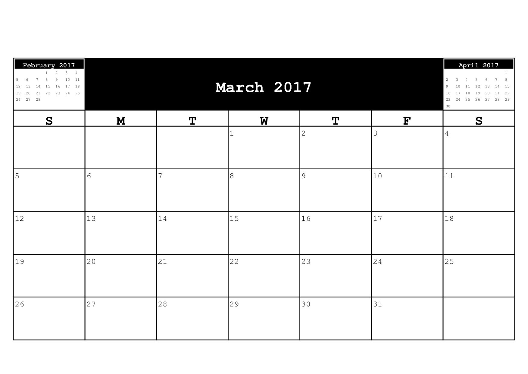 March 2017 Calendar A4 – 2017 March Calendar