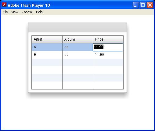 Editable DataGrid : DataGrid « Grid « Flex