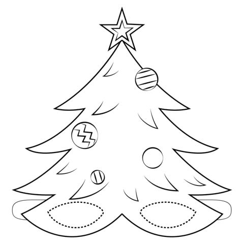 Dibujo De Mascara De Arbol De Navidad Para Colorear Dibujos Para