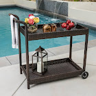 Savona Outdoor Wicker Bar Cart by Christopher Knight Home (Multi-brown), Brown, Patio Furniture