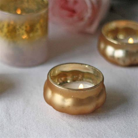 Mini Frosted Gold Floating Tea Light Holders ? The Wedding