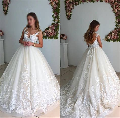 Gorgeous Ball Gown Lace Long Wedding Dresses,Elegant A