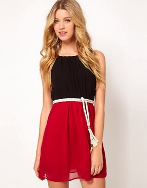 Image 1 of Club L Colourblock Dress With Rope Belt