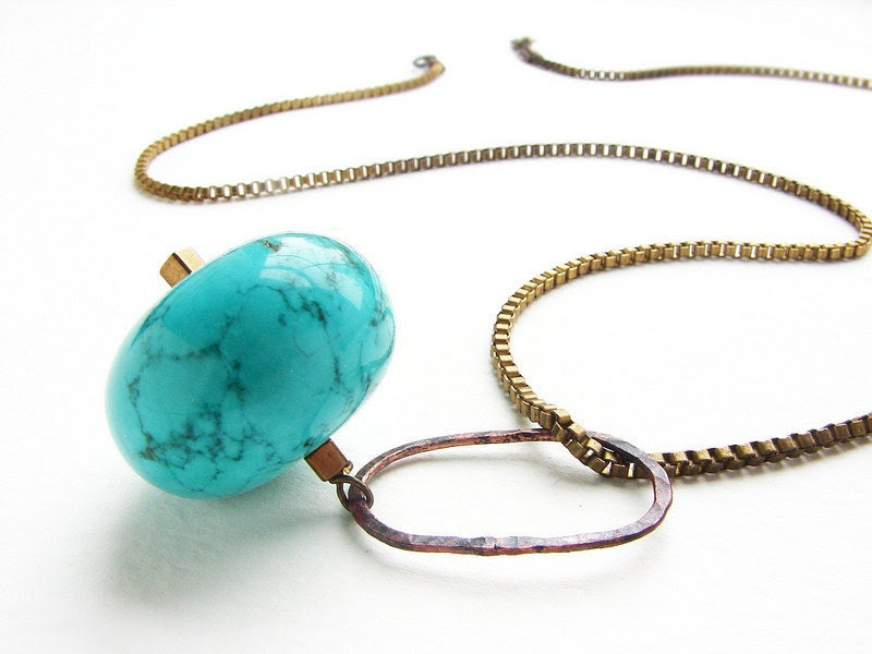 Chunky turquoise sphere long necklace - hand hammered oval link with vintage box chain mod necklace