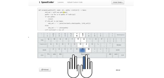 Typing practice for coders with all programming languages like C, Java, C#, C++, JavaScript, HTML, Ruby, Python etc